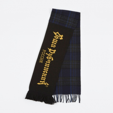 Mix Check Football Scarf - Black/Orange/Checke