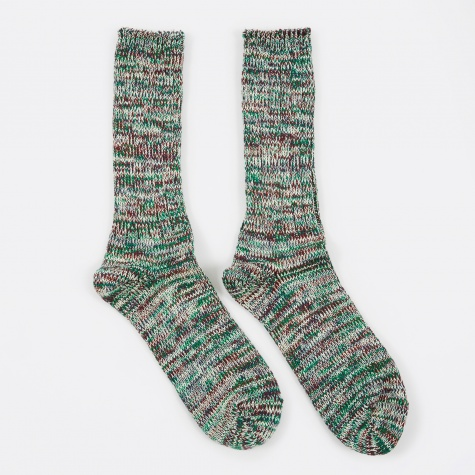 5 Color Mix Crew Sock - Green/Wine