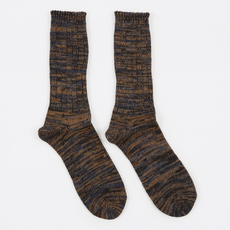 5 Color Mix Crew Sock - Charcoal/Brown