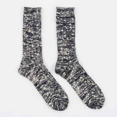 Slub Crew Sock - Navy