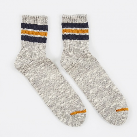 3 Line Slub Q Sock - Grey