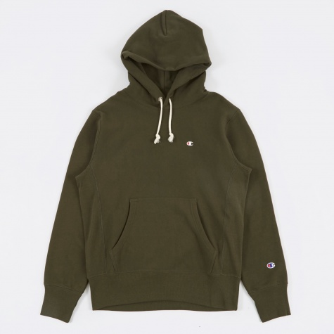 Reverse Weave Hooded Sweatshirt - Forest Green