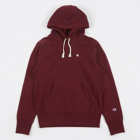 Reverse Weave Hooded Sweatshirt - Burgundy