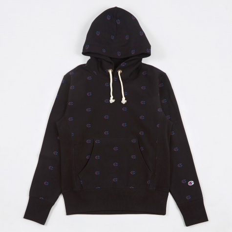 Reverse Weave Hooded Sweatshirt - Black Logo Print