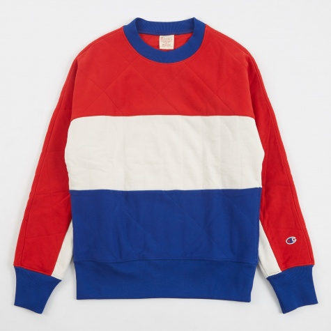 Reverse Weave Quilted Sweatshirt - Red/White/Blue