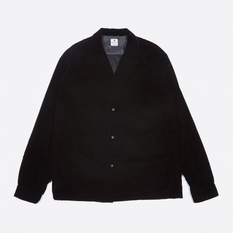 Velvet Open Collar Shirt - Black