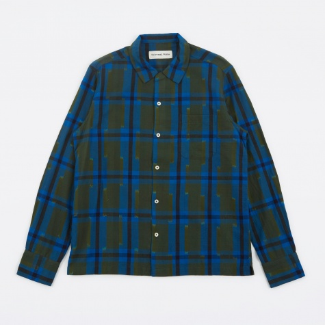 Garage Shirt Ikat Check - Blue/Olive