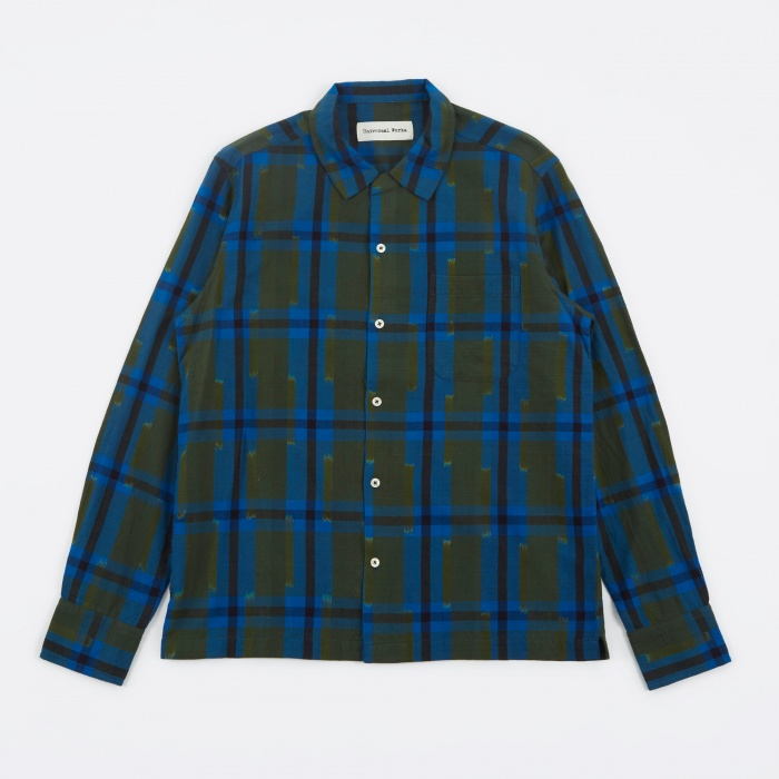 Universal Works Garage Shirt Ikat Check - Blue/Olive (Image 1)