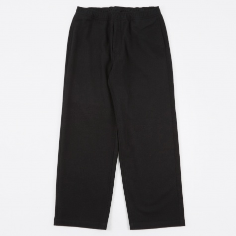 Draped Trousers - Black Carded Wool