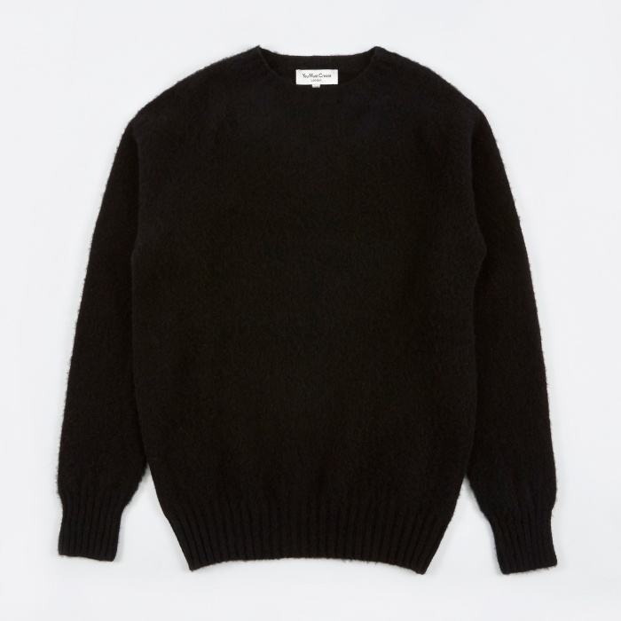 YMC Suedehead Brushed Crew Knit - Black (Image 1)