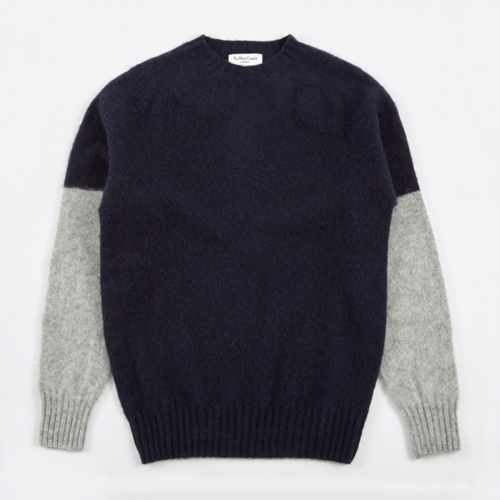 YMC Skate or Die Brushed Crew Knit - Navy/Silver (Image 1)