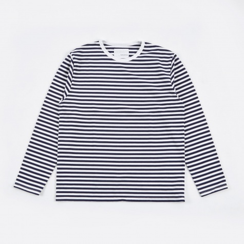 COOLMAX Stripe Jersey LS T-Shirt - Navy/White