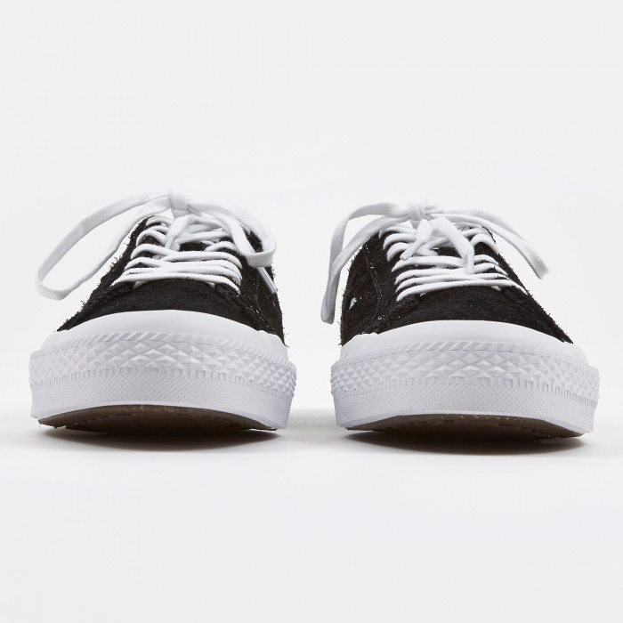 converse one star hairy suede black