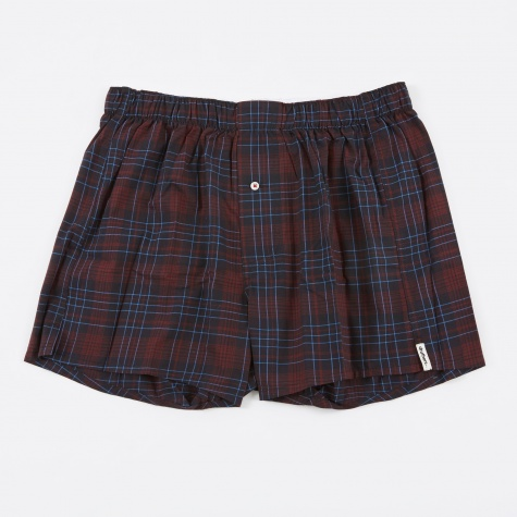 Gianotti Plaid Boxer Short - Dark Red/Navy