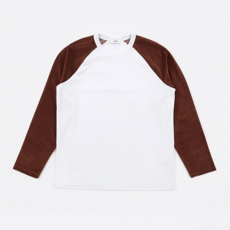 Borg L/S Velour T-Shirt - White/Clay