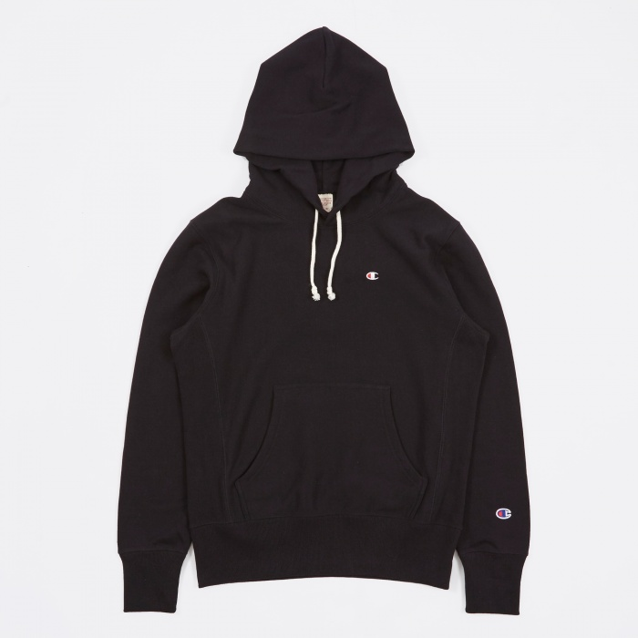 Champion Reverse Weave Hooded Sweatshirt - Black (Image 1)
