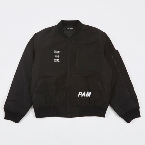 PAM Perks & Mini Hard Synth Embroidered MA-1 Bomber - Black