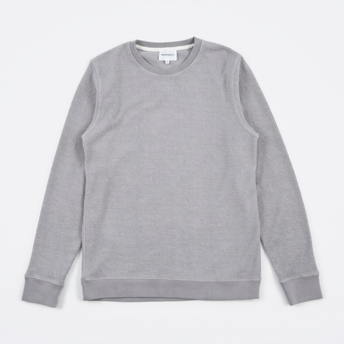 Norse Projects Vagn Heavy Towelling Crew - Ash Grey (Image 1)