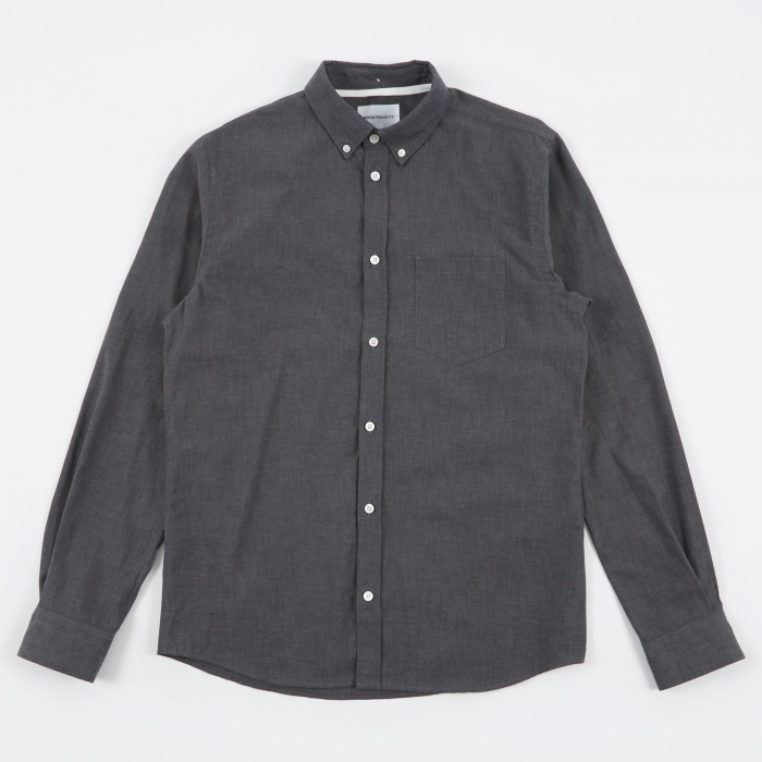 Norse Projects Anton Chambray  Shirt - Lichen/Navy (Image 1)