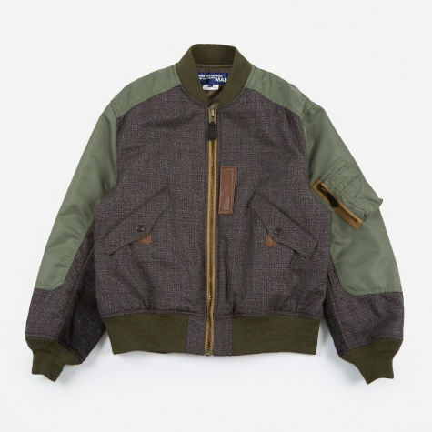 Wool Nylon Bomber Jacket - Grey/Green