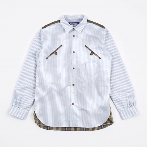 Stripe/Check Shirt - White/Blue/Beige