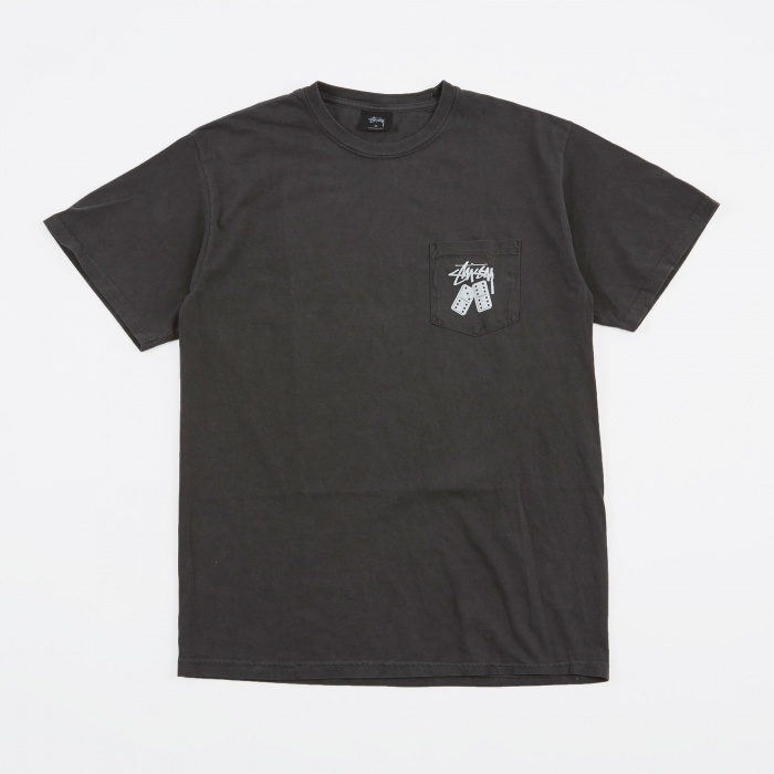 Stussy Dominos Pigment Dyed Pocket T-Shirt - Black (Image 1)