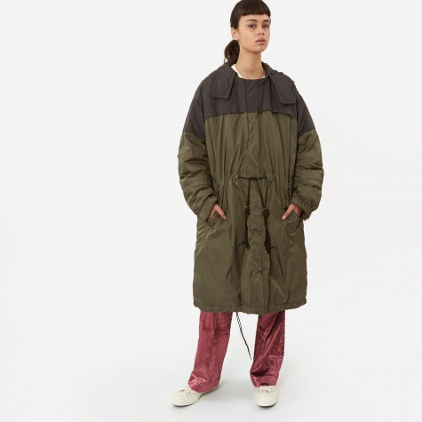 Down Coat With Hood - Khaki