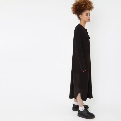 Wool Jersey Long Pocket Dress - Black