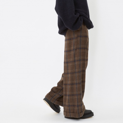 Glen Checkered Wool Pant - Dark Brown