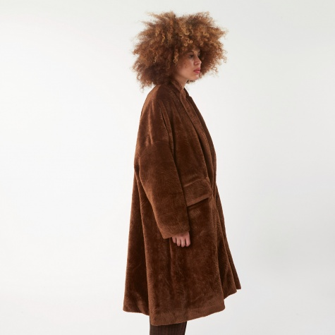 Astrakhan Faux Fur coat - Brown