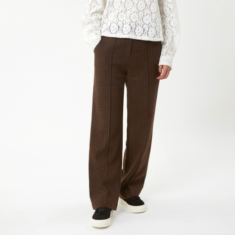 Vintage Check Wool Pant - Khaki Brown