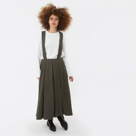 Detachable Suspender Wool Skirt - Dark Green
