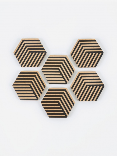 Table Tiles Optic Coasters - Black