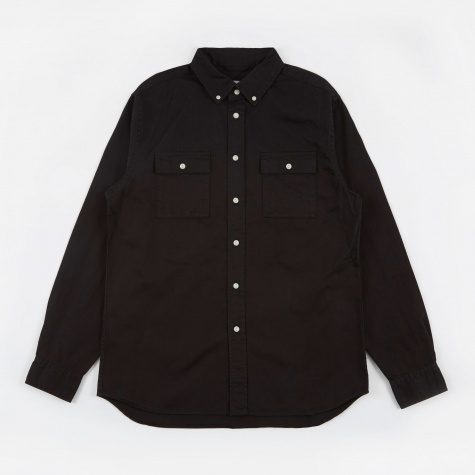 Angus Broken Twill L/S Shirt - Black