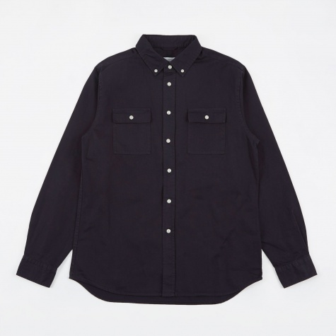 Angus Broken Twill L/S Shirt - Midnight