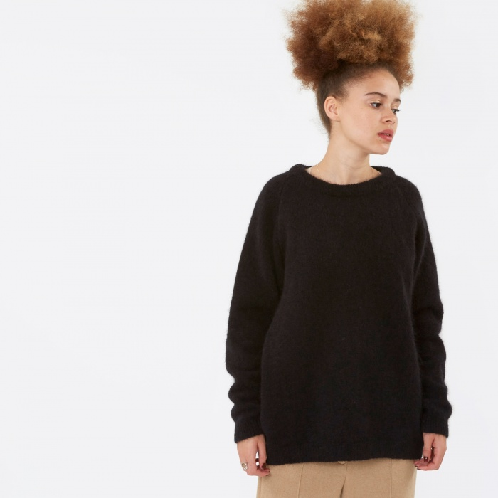 Norse Projects Ajo Brushed Knit Jumper - Black (Image 1)