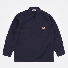 Ben Davis Long Sleeve Half Zip Work Shirt - Navy