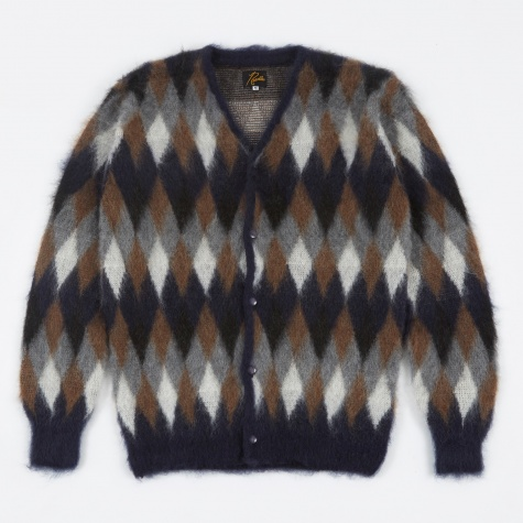 Mohair Cardigan - Navy Diamond