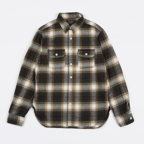 Work Cotton Wool Flannel Check Shirt - Green/Brown/Wh