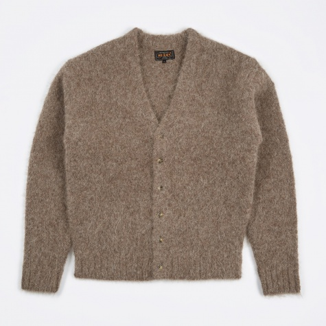 Alpaca Shaggy Cardigan - Brown