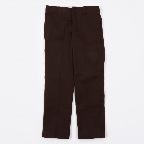 Slim Straight Work Trousers - Chocolate Brown