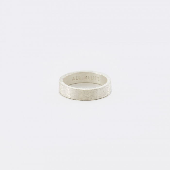 ALL_BLUES Rectangle Ring - Brushed Silver (Image 1)