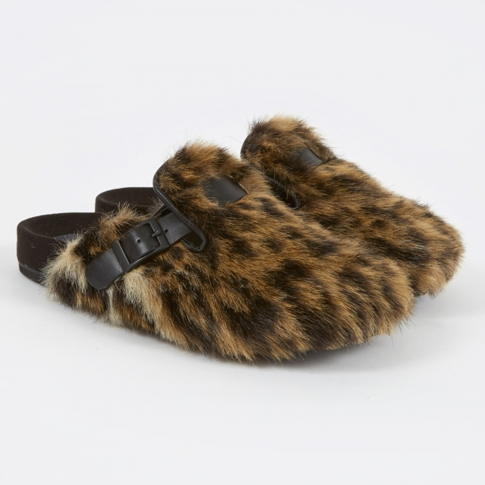 Stand Alone Faux Fur Slippers - Leopard (Image 1)