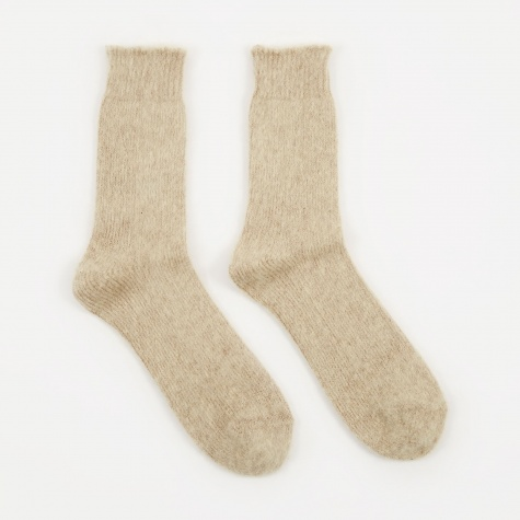 Mohair Knit Sock - Beige