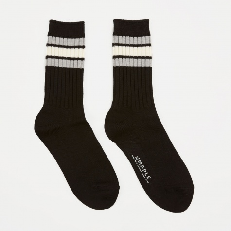 Ribbed Line Sock - Black