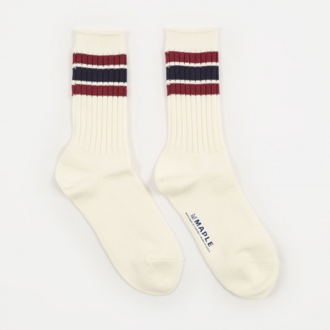Ribbed Line Sock - White