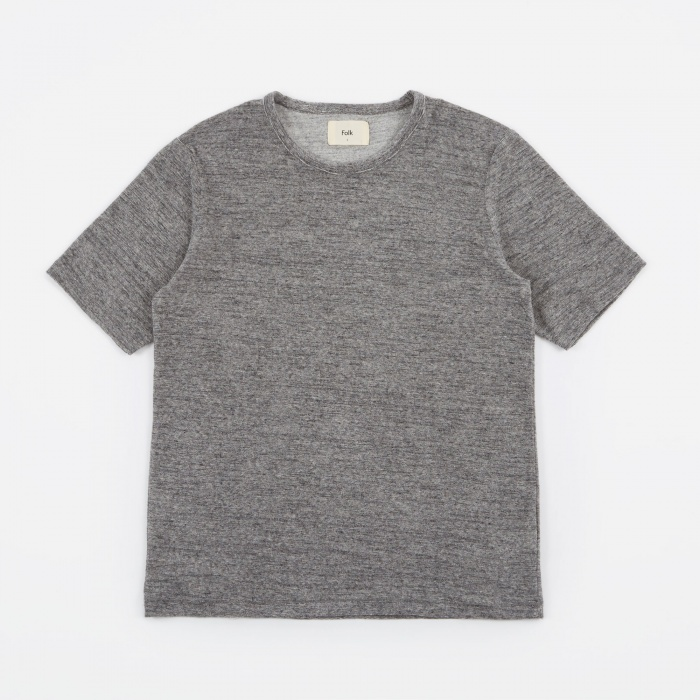 Folk Mid Weight T-Shirt - Charcoal Stripe (Image 1)