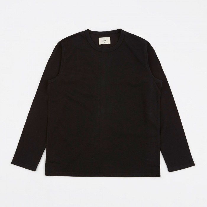 Folk Longsleeve Panel T-Shirt - Black (Image 1)