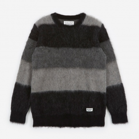 Mohair Striped Jacquard Sweater - Grey