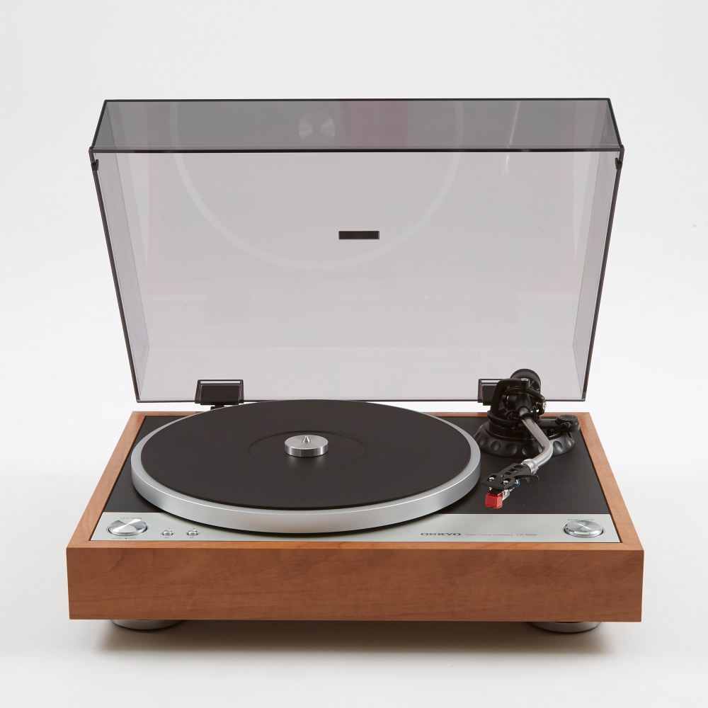 onkyo turntable. onkyo cp-1050 direct drive turntable - wood (image 1) r